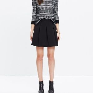 Madewell Black Jacquard Pleated Mini Skirt 0